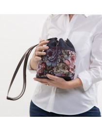 Printed upholstery bucket bag