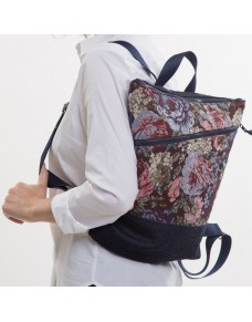 Floral backpack with pocket TAPIS2