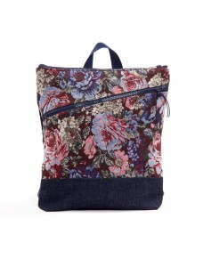 Floral backpack with front pocket