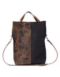 Denim fold-over messenger bag