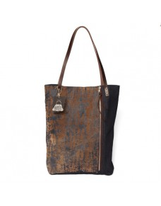 Denim tote bag with leather handles