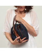 Vegan denim hobo bag