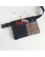 Denim and tapestry hip bag