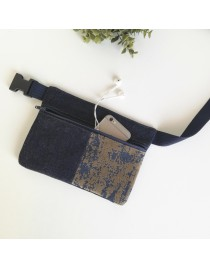 Denim and fabric suede hip bag