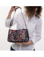 Shoulder bag with flower upholstery