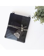 Black mini denim bag
