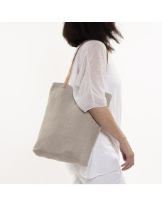 Linen tote bag with natural leather handles