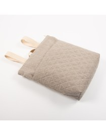 Quilted linen backpack with pockets
