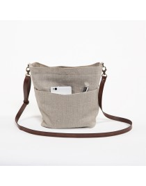 Small linen crossbody bag with pocket NARA