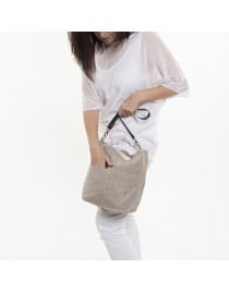 Linen hobo bag with zipper
