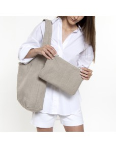 Natural linen hobo bag with pouch