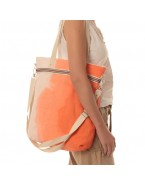 Orange linen shoulder and crossbody bag