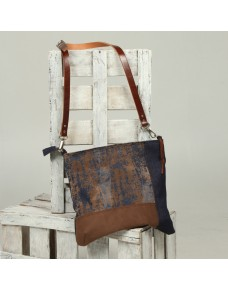 Denim shoulder bag with contrast fabrics