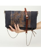 Denim clutch crossbody bag