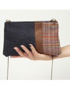 Mini shoulder bag in upholstery and denim