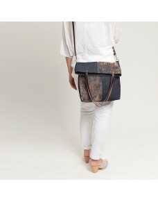 Denim foldover tote bag SONI