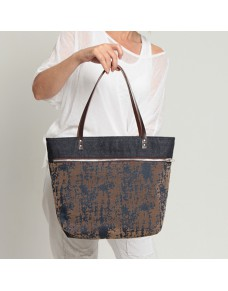 Denim zipper shopping bag