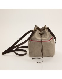 Rustic linen bucket bag NATURE2