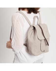 Minimalist linen and leather backpack MOKA