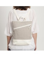 Linen backpack with pocket LINA