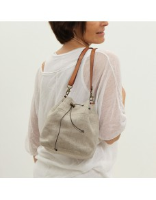 Small natural linen bucket bag