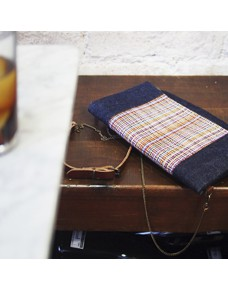 Denim Clutch bag  with tapestry